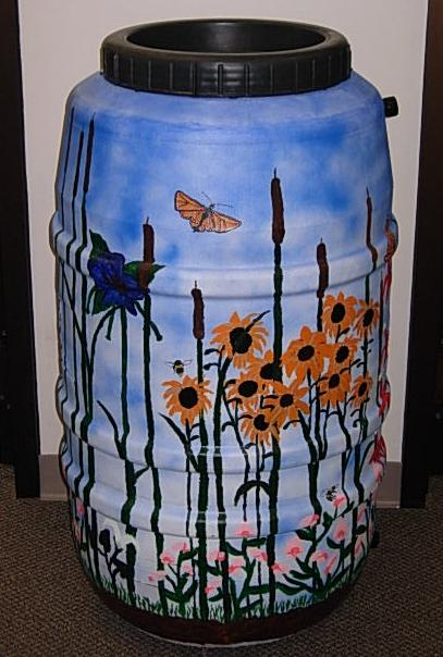 Rain Barrel Decorated With Paintings of Nature