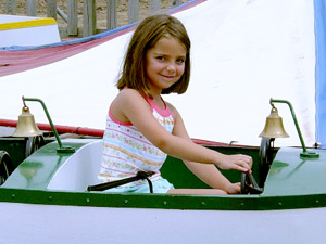 Girl in small boat ride