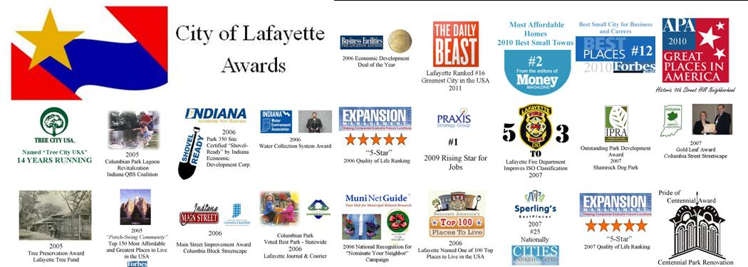 Logos and text of City of Lafayette awards
