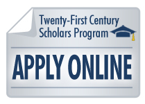 Twenty-First Century Scholars Program Apply Online button with graduation cap