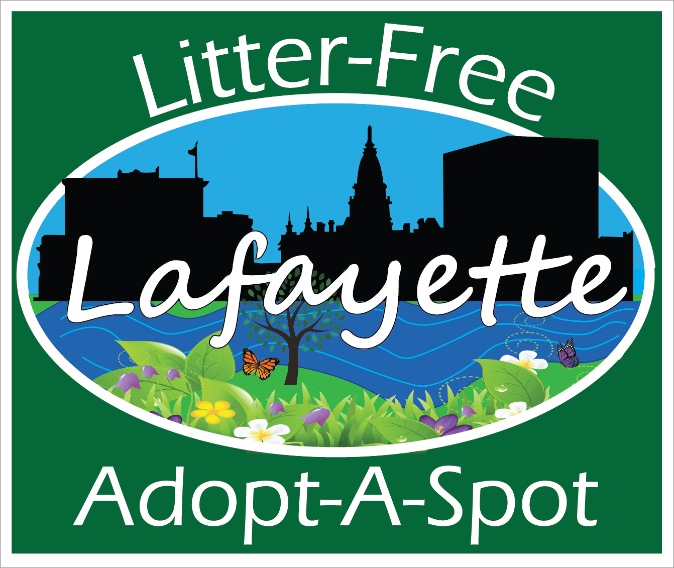 Litter Free Lafayette Adopt-A-Spot sign - Eras Medium ITC